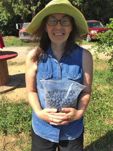 It took only 25 minutes for Jill Price to pick a gallon of blueberries at a local farm. Photo by Susan Drinkard.
