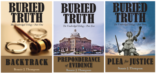 """The """"Buried Truth"""" trilogy, by Bonnie Thompson."""