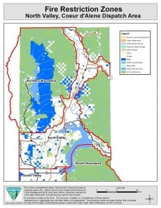 Fire restriction zones for North Idaho.