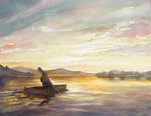 """""""Kayaker on the Clark Fork Delta"""" by Karen Robinson."""