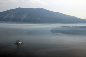 A haze over Lake Pend Oreille. Photo by Ben Olson.