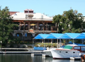 The dining deck at Spuds Waterfront Grill.