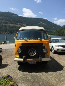 A Volkswagen Bus parked outside of Odie's at Garfield Bay. Photo by Ferris McDaniel.