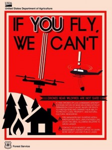 A U.S. Forest Service poster educating the public about drone usage near fire zones.