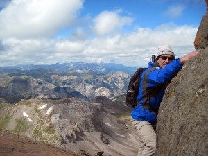 Don Otis climbing Wetterhorn Peak in Colorado's San Juan Range. Photo courtesy of Don Otis.