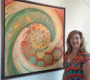 Artist Kelly Price with one of her creations.