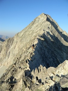 "Crossing the infamous ""knife-edge"" on Capital Peak outside of Aspen. Photo courtesy Don Otis."