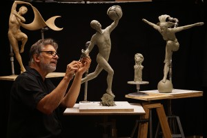 Steve Gerutz at work in his Ponder Point studio.