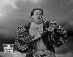 """Chris Farley's """"Saturday Night Live"""" skit where he plays """"El Niño"""" for the Weather Channel."""