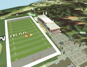 An artistic rendering of the proposed rehabilitation to the grandstands at Memorial Field. Courtesy of the City of Sandpoint.