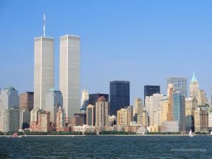 The New York City skyline, prior to September 11, 2001.