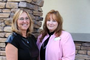 Kathe Lambert and Anita Pew at Wells Fargo Bank. Photo by Ben Olson.