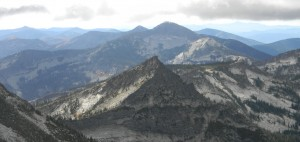 Silver Dollar Peak with Chimney Rock in the background (taken from South Twin). Photo by Don Otis.