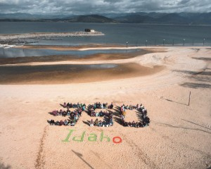 The Sandpoint chapter of 350.org gathers at the City Beach. Courtesy photo.