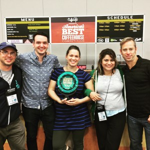 The Evans Brothers team at Portland's America's Best Coffeehouse Competition in which they took 3rd place. From left to right, Randy Evans, Daniel Gunter, Nicole Burrato, Tasha Stevens and Rick Evans.