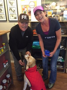 Rob and Sue Harper, owners of Flying Fish Co. with their new buddy Drake.