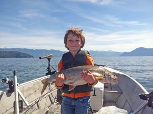 Lake Pickerel holds a 8.72 lb, 28 inch mackinaw (lake trout) he caught on Lake Pend Oreille. Photo courtesy of LPOIC.