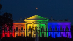 The White House lit in rainbow colors after the Supreme Court ruling in favor of same-sex marriage nationwide.
