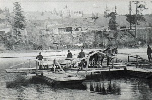 Bonner's Ferry in operation, circa 1870. Photo courtesy of Boundary County Museum.