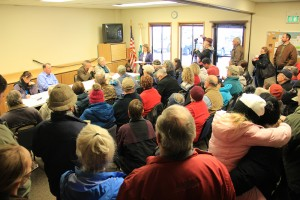 Around 100 people crammed into a small room at Monday's meeting with Boundary County Commissioners to discuss resolutions to oppose refugee resettlement. Photo by Ben Olson.