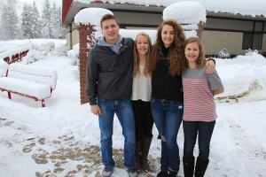 SHS students with Ten Seconds of Kindness (from left to right): Troy Nutt, Kassidy Walker, Calli Laybourne and Ava Blaser. Photo by Ben Olson.