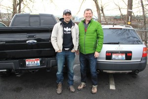 From left to right, Justin and Forrest Schuck stand proudly before their 7B license plates. Photo by Ben Olson.