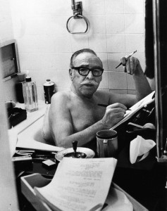 Screenwriter Dalton Trumbo often banged out his scripts at night from the bathtub.