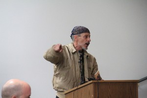 A member of the public speaks to the council Wednesday night. Photo by Ben Olson.