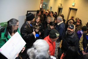 Overflow from the capacity crowd at Wednesday's council meeting in Sandpoint. Photo by Ben Olson.