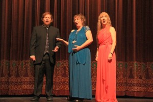 The Bel Canto Trio (from left to right): John Fitzgerald, Karin Wedemeyer,and Brenda Rutledge. Photo by Ben Olson.