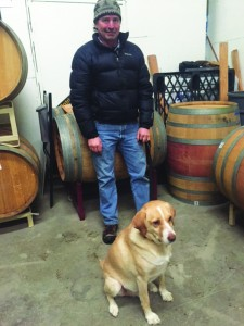 Winemaker Patrick Werry shows Drake around the business.