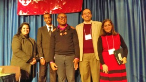The refugee panel (left to right): Rafah Al Khafaji from Iraq has a PhD in Mechanical Engineering, Mohamed Adan from Somalia is a student at Boise State University, Patrick Wangoi from the Congo is a student of social work, Ahmed Aljuboori from Iraq was a professor at the University of Baghdad and Malak Al Fatal from Iraq is a Boise State University student. Photo by Brenda Hammond.