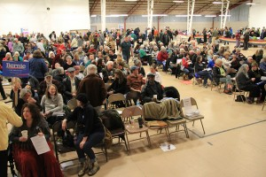 An estimated 1,000 people attended Democratic caucus at the Bonner County Fairgrounds on Tuesday. Photo by Ben Olson.