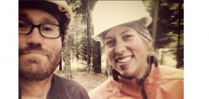The author and her husband Tyler working in the woods together.