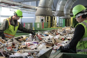 Employees at the Waste Management SMaRT Recycling Center sort recyclable materials in this photo taken last spring. Photo by Ben Olson.