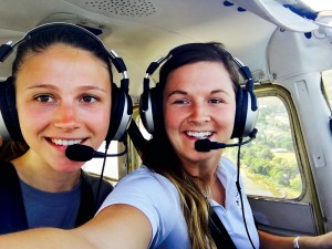 Sara Williams (right) with a friend flying down in Florida. Courtesy photo.