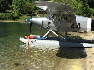 Tanya Rutan laying on a float plane owned by Glenn Smith. Photo by Glenn Smith.