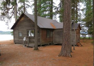 A rustic cabin on a 1.7-acre Priest Lake lot that sold at auction for more than $1 million. Courtesy of the state of Idaho.