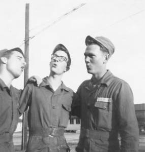 Homesick 19-year-old basic trainees singing at Turner AFB, Albany, Geo. in March, 1951. Left to right: Harvey Lyon, Tim Henney and Lonnie Jenkins.