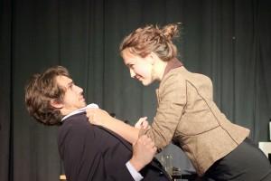 Helen (Skye Palmer) strangles Zack (Jeremiah Campbell). Photo by Robert Moore.