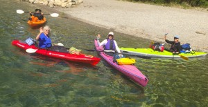 Embarking on a five-day kayak trip around the eastern side of Lake Pend Oreille are (from left to right): Rebecca Patchell of White Fish, Mont. (formerly of Sandpoint), Susan Drinkard, Joyce DeLaVergne, and Sandy Bessler, all of Sandpoint.