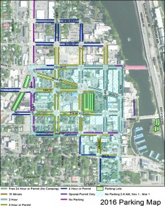 The 2016 Parking Map of Sandpoint, highlighting changes to existing parking laws.
