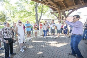 US Rep. Raul Labrador talks with about 30 constituents at Farmin Park on Monday. Photo by Cameron Barnes.