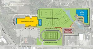 An artistic conception of the scheduled upgrades to the Sandpoint High and Middle Schools. Drawing by ALSC Architects, map by Google.