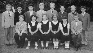 Donald Trump, fourth from left in back row, was in the class one year behind Donald Kass. Photo from Kew-Forest 1958 yearbook.