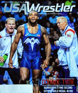 "Bruce Burnett, right, on this month's cover of ""USA Wrestler"" magazine. Photo used by permission."