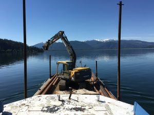 View from Apex Construction's tugboat during the installation of the pylons for the Long Bridge Swim. Courtesy Photo.