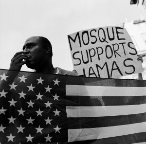 Anti-Mosque protester at Ground Zero during the 10-year anniversary of 9/11. Photo by Cameron Barnes