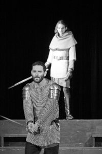 Foreground: Seneca Cummings as Macbeth and Jeremiah Campbell as Macduff in last years Macbeth performance. Photo by Becky Campbell