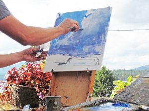 Moscow painter Aaron Johnson captures a scene for the 2015 Friends of Scotchman Peaks Wilderness Plein Air Paintout.  Courtesy photo.